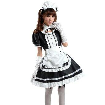 Harga Girls 4-Piece Apron Dress Headwear Fake Collar Lolita French MaidHalloween Cosplay Party Costume Black + White Asian L(US 6-8)