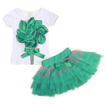 Gracefulvara 2ชิ้นเด็กผู้หญิงน่ารัก ๆ ดอกกุหลาบเสื้อยืด และกระโปรงกระโปรงแต่งตัวชุดเซ็ตปาร์ตี้ (สีเขียว)
