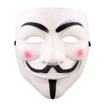 Halloween Cosplay V Mask Costumes Anonymous Makeup PlayingWhite/Yellow - intl