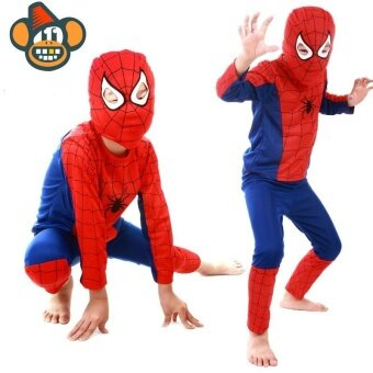 Halloween Party Clothing Children Costume The Spider Man PropCostumes T-shirt Pant Mask Kit for Kids Boys and Girls Int:L - intl