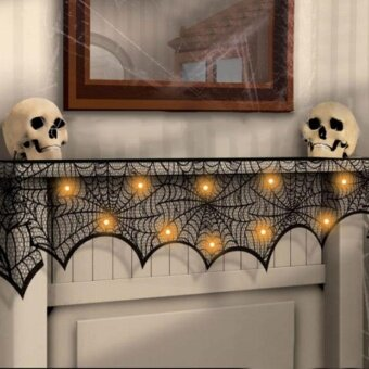 Halloween Party Supply Decoration Lace Fireplace Spider Web TableCloth - intl