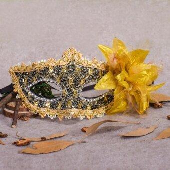 Halloween Rhinestone Feather Lace Mask Festival Celebration FancyVenetian - intl