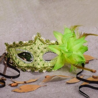 Halloween Rhinestone Feather Lace Mask Party Festival CelebrationFancy Venetian - intl