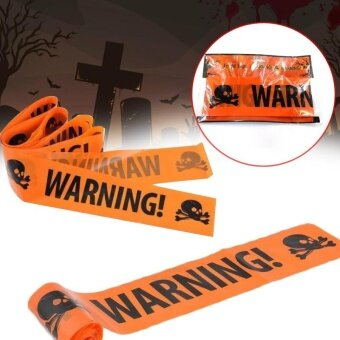 Halloween Skull Party Warning Tape Signs Decoration Window House Prop Plaque - intl