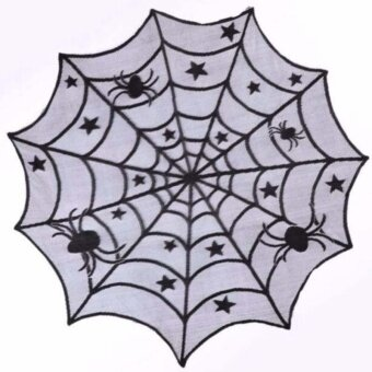 Halloween Star Round Web Tablecloth Fireplace Table Decor Topper Covers Party - intl