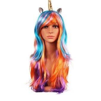 Halloween you must have it Fashiein 70cm Long Curly Wig RainbowUnicorn Lolita Cosplay Race Wig colorful @ - intl