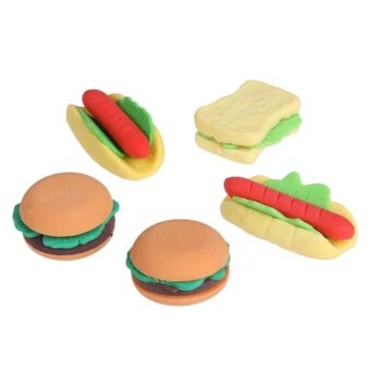 Hamburger Food Drink Cola Rubber Eraser Set Erase Supplies KidsMany people package - intl