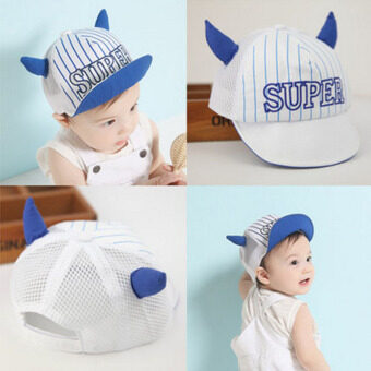 Haotom Summer Style Baby Hat infant Caps Letter Children BaseballCaps Boys & Girls Peaked Hats Sun Hats (3-24months)blue-Ox horn(Intl)