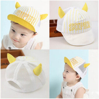Haotom Summer Style Baby Hat infant Caps Letter Children BaseballCaps Boys & Girls Peaked Hats Sun Hats (3-24months)yellow-Oxhorn (Intl)