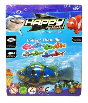 หุ่นยนต์ปลาสวยงาม ว่ายน้ำอัตโนมัติ Happy Fish Robot Toy Automaticswimming ลาย เหลืองใสพาดจุดน้ำเงิน Yellow Transparent Stripe SpotBlue