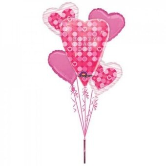 Happy Heart Day Pink Dots Bouquet Of Balloons - intl