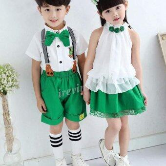 Happycat New Cute Children Kids Two Pieces Fashion Solid Loose\nFitting School Clothes Sets (Green and White) (100 (34Y))