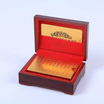 High Grade 24K Gold Foil Plated Game Playing Cards Wood BoxChristmas - intl