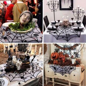 Holloween 40 Halloween House Fireplace Decor Black Spider Web LaceTable Cloth Cover - intl