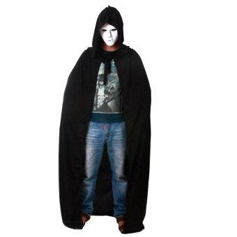 Holloween Cloak Halloween Fancy Dress Cape Cosplay Black HoodedDeath Demon Vampire - intl