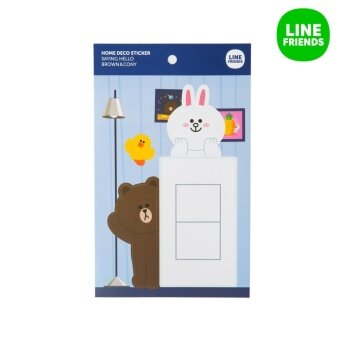 HOME DECO STICKER_SAYING HELLO_BROWN&CONY