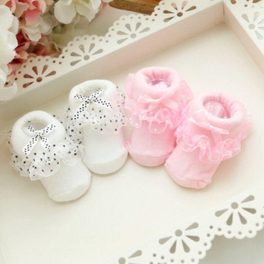 Hot Sale Cotton Floral Newborn Baby Kids Soft Non-slip Lace Socks (Pink)