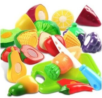 Hot Sale Plastic Cutting Fruits and Vegetables Set Pretend Play Toys Hign Quality - intl