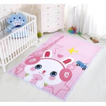 HQP แผ่นรองคลานจากผ้า ลายน่ารัก มีกันลื่นด้านล่าง นอนเล่นสะอาด ซักได้ ขนาด 150*200*3 cm