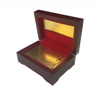 IBERL Gold Foil Plated Poker Playing Cards 52 Cards & 2 JokersGreat Gift With a Wooden Case - intl