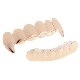 Harga MagiDeal Hip-Hop 18K Gold Plated Mouth Caps Custom Teeth Grills Top&Bottom Grillz Set - intl