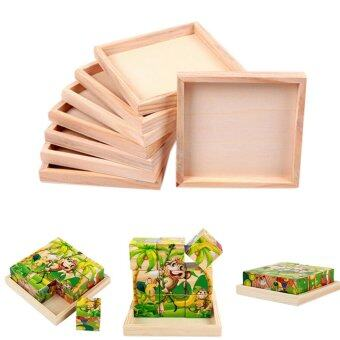 Harga Wood Plate for Six-Sided Painting Kids Puzzle Building Block Wood Pallet - intl