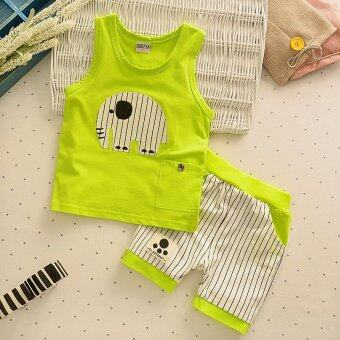 Harga 2pcs Kids Clothes Baby Boy Summer Clothes Set Tank Top + Striped Shorts Childrens Toddler Boy Clothing Set Baby Clothes for Boys Green - intl