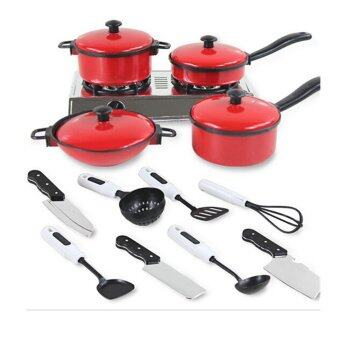 Harga MULBA Small 13 Sets Red Tone Kids Play House Kitchen Toy Include Kitchen Pots Pans Cooking Food Dishes Cookware Cookware Playset