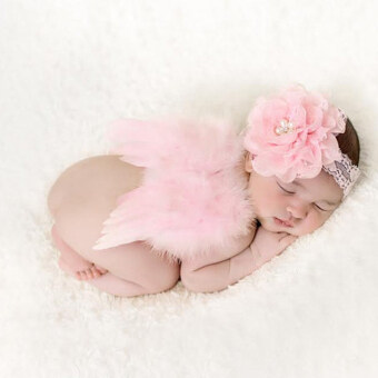 Harga HengSong Newborn Babys Girls Boys Angel Wings + Chiffon Flower Headband Set Photography Props Pink - intl