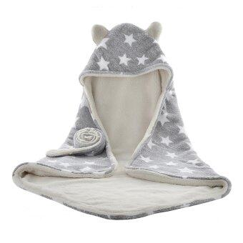 Harga Baby Hooded Bath Towel, Unisex Cute Soft Thick Terry Washcloth Set Bathrobe Fleece Bathing Swimming Wrap Blanket with Waistband for Newborn Infant Toddler 75 x 75cm Grey - intl