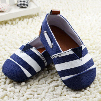 Harga Fashion Striped Baby Girl Boy Shoes Cotton Soft Non-Slip First Walkers 0-18 Months Toddler Infant Slip-On Shoes