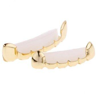 Harga MagiDeal 18K Gold Plated Top & Bottom Grillz Set Fang Tooth Hip Hop Teeth Grills - intl