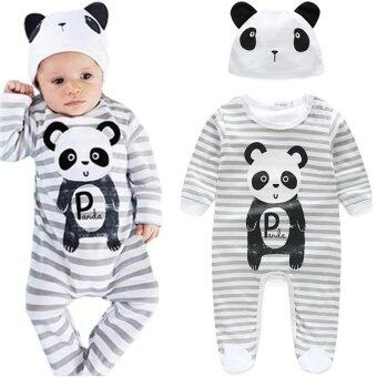 Harga Baby romber body suits boy and girl new bron baby panda stripe 2pcs 0-24month