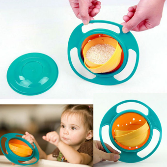 Harga Non Spill Feeding Toddler Gyro Bowl 360 Rotate w/ Lid Baby Avoid Food Spill