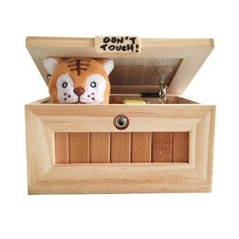 Harga Wooden Box Leave Me Alone Box Most Useless Machine Don't Touch Tiger Toy Gift with Light USB Charging - intl