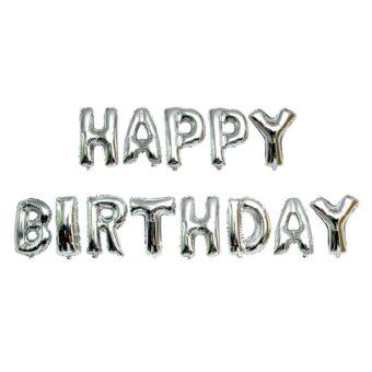 Harga 13pcs Letters Foil Balloons Children Birthday Party Decor (Silver)
