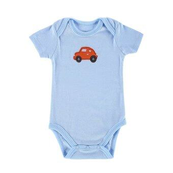 Harga Baby Boy Bodysuit Jumpers 100% Cotton Baby Boy Kids Infant Toddlers Rompers-light blue