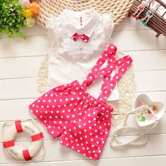 Harga Baby Girl Children's Clothing Summer Style Girls Dress Sets Petals Short Sleeve T-shirt + Petals Dot Straps Pants Suit (Pink)