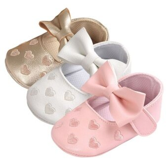 Harga Baby PU Leather Baby Boy Girl Baby Moccasins Moccs Shoes Bow Fringe Soft Soled Non-slip Footwear Crib Shoes - intl