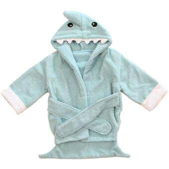 Harga Baby Toddler Girl Boy Animal Cartoon Pattern Bathrobe Towel 0-2 Years Old(Light Blue Shark) - intl