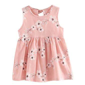 Harga Kids Girls Sleeveless Morning Glory Print Cotton and Linen Dress - intl