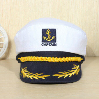 Harga Yacht Peaked Skipper Sailors Navy Captain Boating Boat Hat Cap Costume Unisex white
