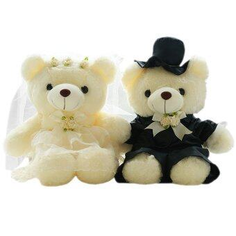 Harga JinGle 1 Pair Wedding Teddy Bear Plush Stuffed Doll Girlfriend Gift 20CM (Multicolor)