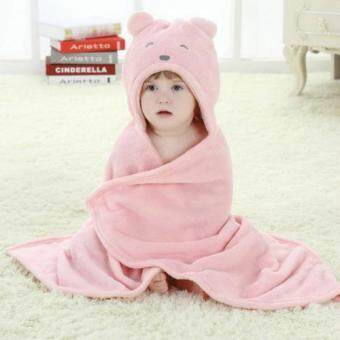 Harga Soft Velvet Cute Animal Shape Cartoon Baby Kids Hooded Bath Towel Toddler Boy Girls Bathrobe (Light Pink) - intl