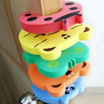 Harga 5PCS EVA PVC Baby Security Door Card Cartoon Child Safety Door Stopper Animal Door Stop Door Holder(Random Color)