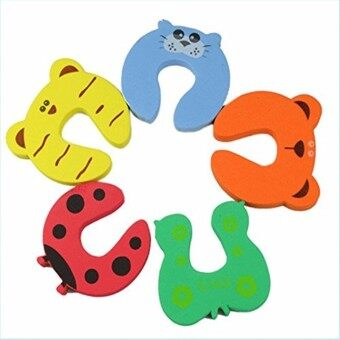 Harga 5pcs Kids Cartoon Exit Card Door Stoper, Child Lock Safety Guard Finger Protect, Baby Animal Jammers Infant Safety Protector - intl