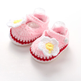 Harga 0-6M Handmade Baby Crochet Knit Shoes(Pink)