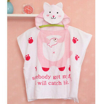 Harga Cartoon Cat Printed 100% Cotton Baby Hooded Bathrobes Infant Bath Towel Bathing Robe for Kids Baby Bathrobe Pajamas Beach Gown Gifts 60x120cm - intl