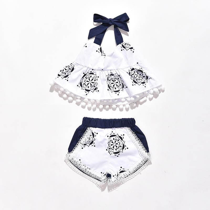 Infant Cute Clothing Set Baby Girl Bodysuits Clothes Set Tank Top T-shirt Sleeveless Shorts 2pcs Outfit - intl