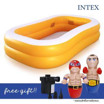 INTEX swimming pool สระว่ายน้ำเป่าลม ขนาด 2 เมตร แถมฟรีตุ๊กตาเป่าลม (คละแบบ) และ ที่สูบลมไฟฟ้า